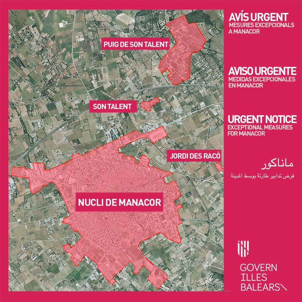 Überblick der in Manacor vom Lockdown betroffenen Zonen