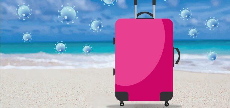 Grafik zeigt Koffer am Strand und Viren