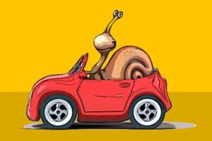 Entschleunigung die Schnecke im Auto
